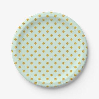 Mint,gold polka dot,trendy,girly,pattern,cute,fun, 7 inch paper plate