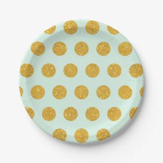 mint,gold,polka dot,trendy,girly,pattern,modern, 7 inch paper plate