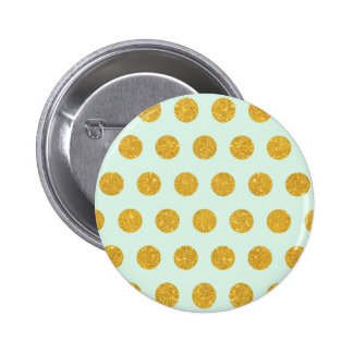 mint,gold,polka dot,trendy,girly,pattern,modern, 2 inch round button