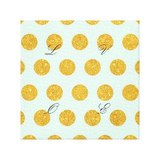 mint,gold,polka dot,trendy,girly,pattern,modern, canvas print