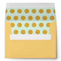mint,gold,polka dot,trendy,girly,pattern,modern, envelope