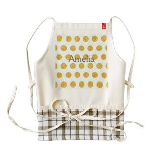 mint,gold,polka dot,trendy,girly,pattern,modern, zazzle HEART apron