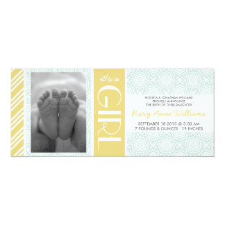 Mint & Gold Striped Photo Birth Announcement