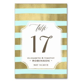 Mint Gold stripes Table number Table Cards