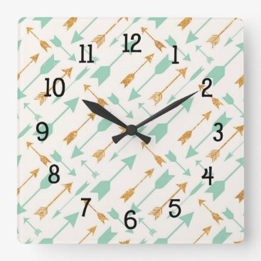 Aztec Themed Mint Gold Tribal Arrows bedroom nursery decor Square Wall Clock