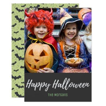 Halloween Themed Mint Gray Bats Happy Halloween Photo Card
