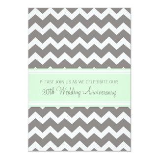 Mint Gray Chevron 20th Anniversary Invitation