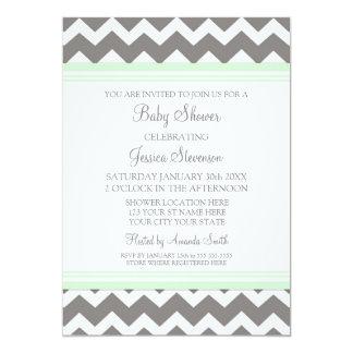 Mint Gray Chevron Custom Baby Shower Invitations
