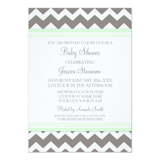 Mint Gray Chevron Custom Baby Shower Invitations