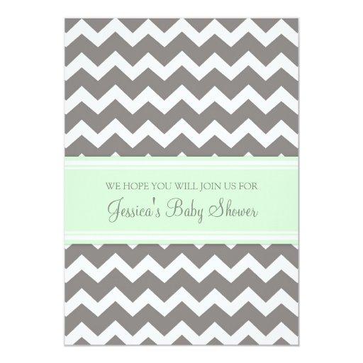 mint gray chevron custom baby shower invitations 5 x 7 invitation