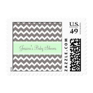 Mint Gray Chevron Custom Baby Shower Stamps