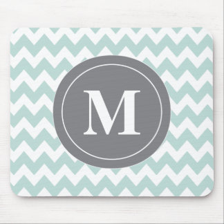 Mint Gray Chevron Personalized Mousepad