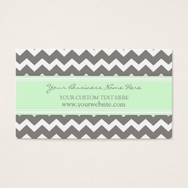 Professional Business Mint Gray Chevron Retro Business Cards