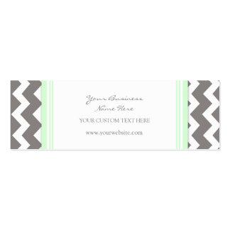 Mint Gray Chevron Retro Business Cards