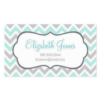 Mint & Gray Colorful Chevron Stripes Business Card Templates