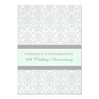 Mint Gray Damask 20th Anniversary Party Invitation