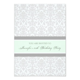 Mint Gray Damask 35th Birthday Party Invitations
