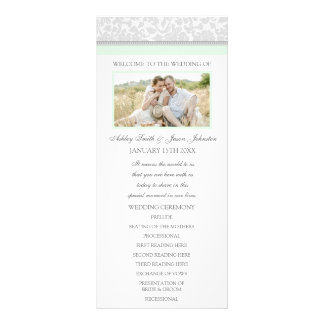 Mint Gray Damask Photo Wedding Program