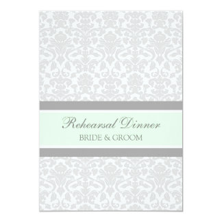 """Mint Gray Damask Rehearsal Dinner Party 5"""" X 7"""" Invitation Card"""