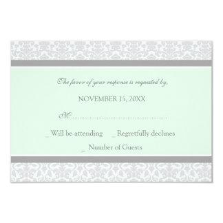 Mint Gray Damask RSVP Wedding Card