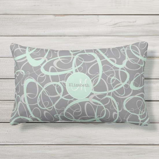 mint gray geometric crazy loops personalized lumbar pillow