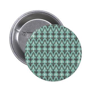 Mint Gray Geometric Ikat Tribal Decorative Pattern Pinback Button