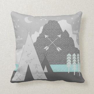 Mint Gray Indian Tribal Tepee Arrow Moon Mountain Throw Pillow
