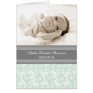 Mint Gray It's a Girl Photo Birth Announcement