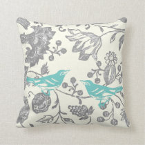 Mint & Gray Ivory Vintage Floral Bird Pattern Throw Pillow