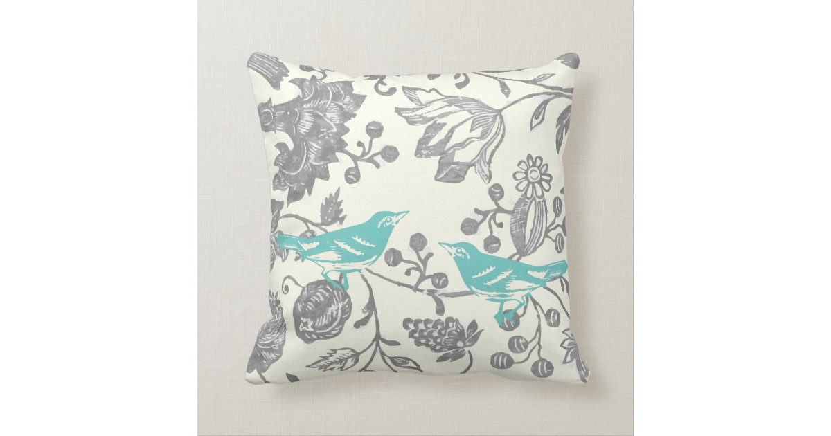 Bird Pattern Throw Pillows : Mint & Gray Ivory Vintage Floral Bird Pattern Throw Pillow Zazzle.com