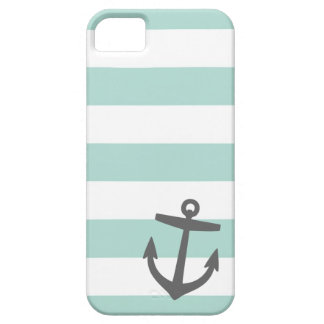 Mint & Gray Nautical Stripes and Cute Anchor iPhone SE/5/5s Case