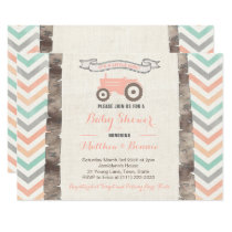 Mint Gray Peach Tractor Girl Baby Shower Invitation