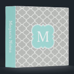 """Mint Gray Personalized Monogram School Binder<br><div class=""""desc"""">A cute and modern designer monogrammed school binder with an elegant mint green aqua,  light gray and white quatrefoil pattern. Customize the spine and add your monogram for a trendy and pretty personalized school or office accessory.</div>"""