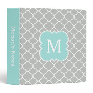 Mint Gray Personalized Monogram School Binder