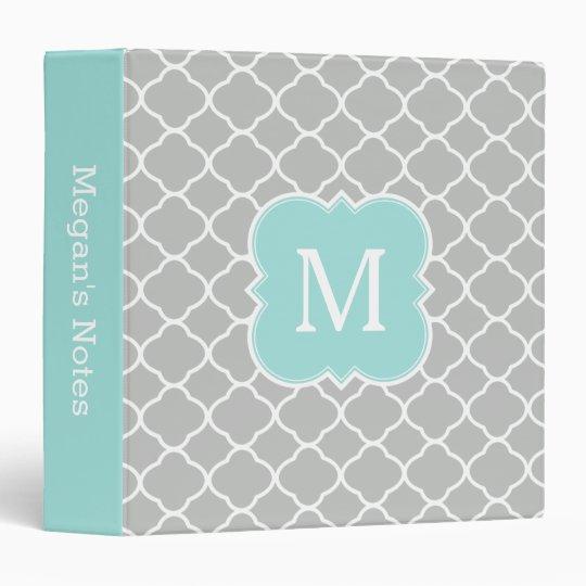 mint gray personalized monogram school binder