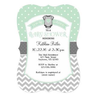Mint Gray Polka Dot Chevron Baby Shower Invite