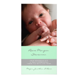 Mint Gray Thank You Baby Shower Photo Cards