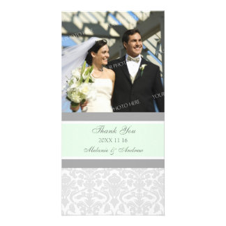 Mint Gray Thank You Wedding Photo Cards