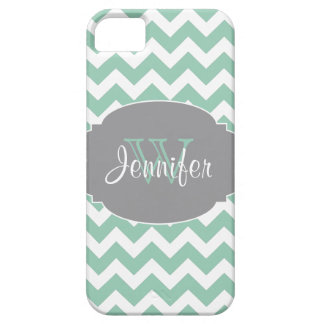 Mint & Gray Trendy Patterns monogram iPhone 5 iPhone SE/5/5s Case