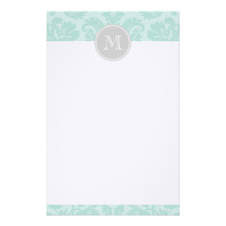Mint & Gray Vintage Damask Custom Monogram Stationery