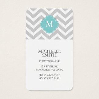 Mint & Gray Zigzags Pattern Monogram Business Card