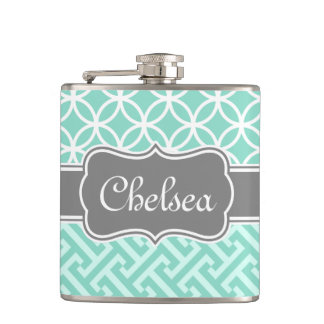 Mint Greek Key and Circle Patterns Grey Name Hip Flask