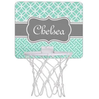 Mint Greek Key and Circle Patterns Grey Name Mini Basketball Backboard