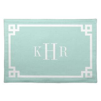 Mint Greek Key Border Custom Monogram Cloth Placemat