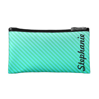 Mint Green Abstract Monogram Makeup Bags