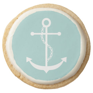 Mint Green Anchor Round Shortbread Cookie