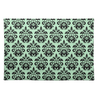 Mint green and black damask placemat