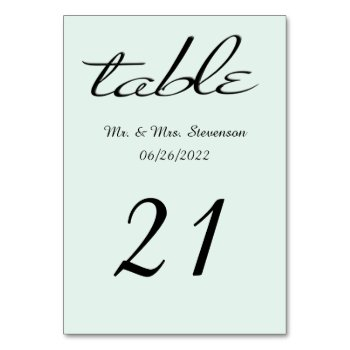 Mint Green and Black Name and Date Card