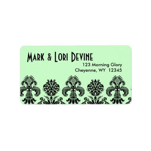 Mint green and black pattern designer labels