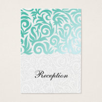Mint Green and Black Swirling Border Wedding Business Card